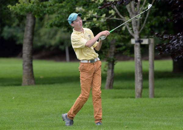 Sean Doyle (Black Bush) watching the flight of his ball at the 18th hole during the Leinster Boys' Under 13 Open Championship at Corrstown Golf Club (21/07/2014). Picture by Pat Cashman