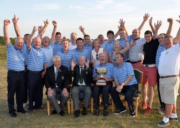 Liam Martin (President, Golfing Union of Ireland) pictured with the victorious Munster Team and supporters after their victory in the Interprovincial Matches at Island Golf Club today (24/07/2014). Picture by Pat Cashman