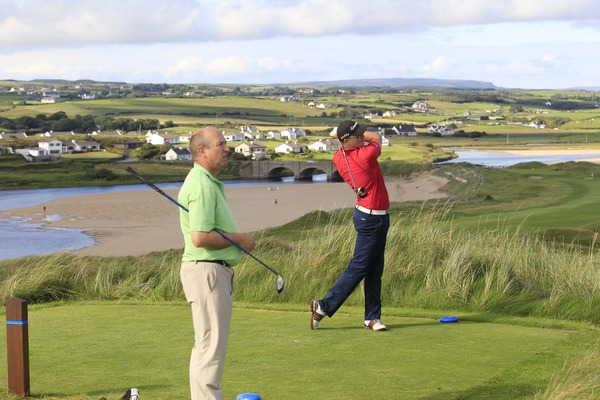 Craig Melvin (Corrstown) on the 9th tee during round one of the South of Ireland at Lahinch Golf Club, 26th July 2014. Picture: Thos Caffrey /  www.golffile.ie