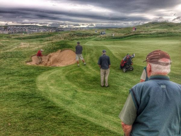 Arthur Pierse gets up and down from the bunker at the 17th en route to a fourth round victory in the South of Ireland Championship at Lahinch.
