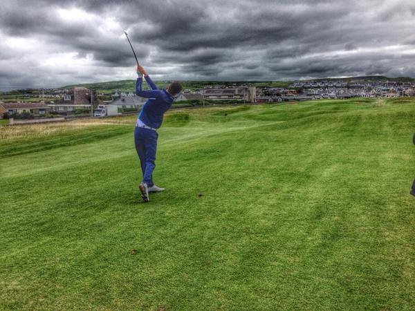 Andrew Magee (Powerscourt) hits a four-iron to 12 feet at the 18th to set up a fifth round win over Esker Hills' Alan Lowry in the Clare Coast Hotels sponsored South of Ireland Amateur Open at Lahinch. Picture © Brian Keogh