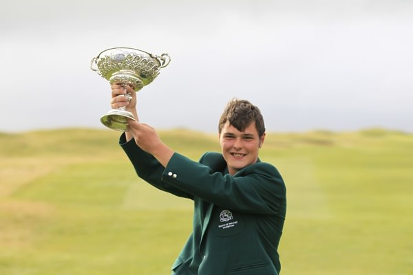 Shandon Park's Stuart Bleakley raised the South of Ireland trophy. Picture: Thos Caffrey / www.golffile.ie