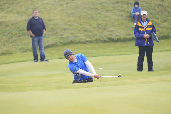 Stuart Bleakley splashes out at the 16th. Picture: Thos Caffrey / www.golffile.ie