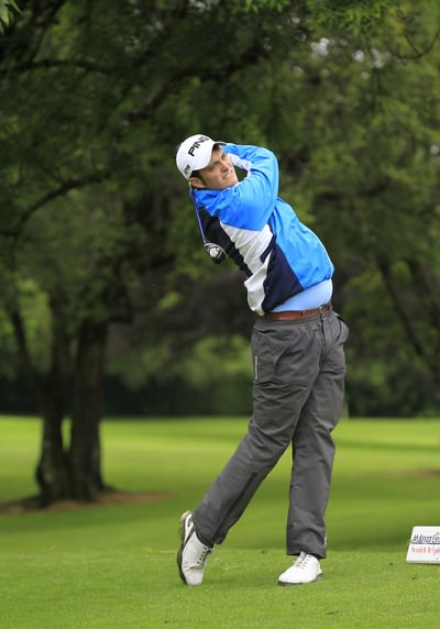 Shane McGlynn (Carton House) hits a fairway wood off the third tee during round one of the 2014  Mullingar Electrical Scratch Trophy. Picture: Thos Caffrey /  www.golffile.ie
