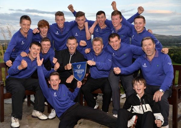 Ger Nowlan (Captain, Carton House Golf Club) celebrates with Brendan Boucher (Team Manager), Paul Mullarkey (Team Captain) and team members after their victory in the Fred Daly Leinster Final at Dun Laoighaire Golf Club. (03/08/2014). Picture by  Pat Cashman