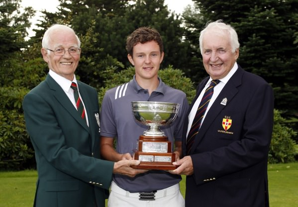 John-Ross Galbraith (Whitehead) wins the 2014 Ulster Youths Championship at Balmoral Golf Club. Pictured with Balmoral Captain and GUI Ulster Branch Chairman Peter Sinclair. Picture: David Ross/Ulster Golf.