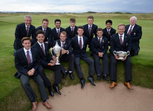 The England Boys team celebrate with the trophy after winning the Boys Home Internationals at Western Gailes. (7 August 2014) Picture credit: The R&A