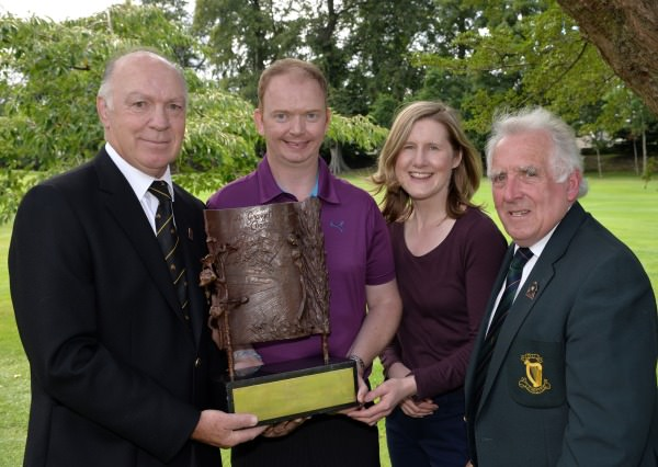 John Ferriter (Hon Secretary, Leinster Golf, GUI) presenting Simon Miskelly (Knock) with the 2014 Leinster Mid Amateur Open Championship trophy after his victory at the Grange Golf Club today (09/08/2014). Also in the picture are Tony Frew (Captain, Grange Golf Club) and Lynne Miskelly. Picture by Pat Cashman