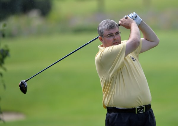 Alan Dowling (Hermitage) driving at the 16th in the final round of the 2014 Leinster Mid Amateur Open Championship at the Grange Golf Club today (09/08/2014). Picture by  Pat Cashman