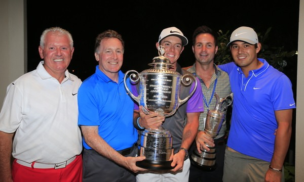 Gerry McIlroy, Michael Bannon, Rory McIlroy, Sean O'Flaherty and Harry Diamond with the Claret Jug and the Wanamaker Trophy at Valhalla Club, Louisville, Kentucky.: Picture Eoin Clarke, www.golffile.ie, 10th August 2014