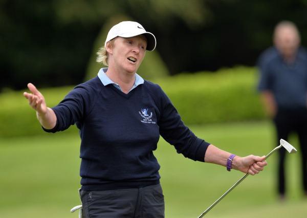Carol Wickham (Laytown & Bettystown) after winning her match and the title on the 18th green in the final of the 2014 AIG All Ireland Senior Cup Finals at Mount Wolseley Country Club (16/08/2014). Picture by  Pat Cashman