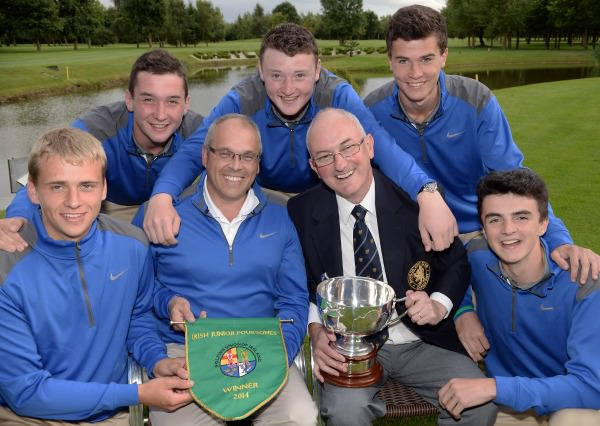 Peter Hamilton (Captain, Bangor Golf Club) and Alisdair Moore (Team Captain) with team members Andrew Moore, James Fox, Corrie McAllister, Thomas Beaumont and Ryan Young after their victory at the 2014 Irish Junior Foursomes Finals at Castlewarden Golf Club (18/08/2014). Picture by  Pat Cashman