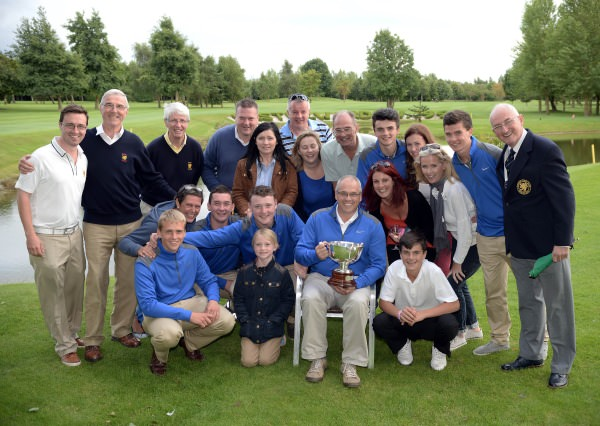 Alisdair Moore (Team Captain) and Peter Hamilton (Captain, Bangor Golf Club) pictured with the Bangor Golf Club Irish Junior Foursomes team of Andrew Moore, James Fox, Corrie McAllister, Thomas Beaumont and Ryan Young with their supporters after victory at the 2014 Irish Junior Foursomes Finals at Castlewarden Golf Club. Picture by Pat Cashman