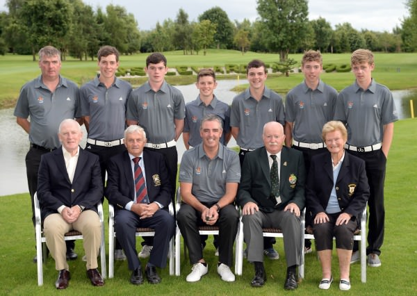 Liam Martin (President, Golfing Union of Ireland) pictured with the Galway Golf Club Irish Junior Foursomes team beaten finalists at the 2014 Irish Junior Foursomes Finals at Castlewarden Golf Club today (18/08/2014). Also in the picture in front (from left) Donie O'Sullivan (Vice Captain, Galway Golf Club), Bill Moran (Captain, Castlewarden Golf Club), Michael Burke (Team Captain) and Gwen Quaid (President, Galway Golf Club). At back (from left)  Gerard O'Farrell, Colm Hughes, Sean Burke, Paddy Culhane, Michael O'Farrell, Mikey Burke and Cathal Nolan.  Picture by Pat Cashman