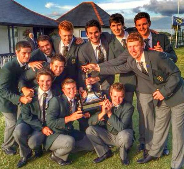 Paul Dunne, front (second left) and Gary Hurley back row (second from right) with the Raymond Trophy at Southerndown  last week.
