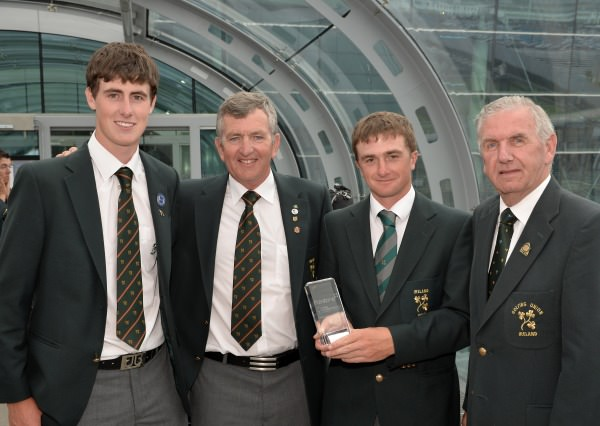 St Andrews Trophy team members Gary Hurley (West Waterford) and Paul Dunne (Greystones) with Padraig Hogan and Albert Lee (Hon Sec. GUI) after their victory in the Home Internationals. Picture by Pat Cashman