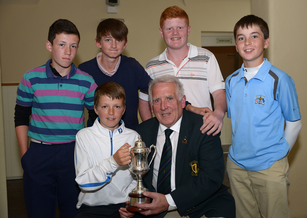 John Ferriter (Hon Secretary, Leinster Golf) presenting Ronan Cowhey (Elm Park) with the Titleist sponsored 2014 Leinster Boys Under 13 Series trophy after his victory at Carton House. .Also in the picture are fellow prizewinners (from left) Sean Downes (Beaverstown), Stephen Rennick (Royal Curragh), Josh Mackin (Dundalk) and Eoin O'Sullivan (Carton House). Picture by Pat Cashman
