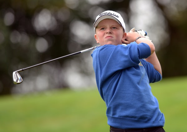 Joseph Byrne (Baltinglass) driving from the 14th tee during the 2014 Leinster Boys Under 13 Series Final. Picture by Pat Cashman