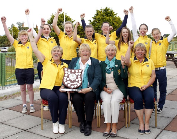 Leinster celebrate their win in the Girls Interprovincial Championship at Donaghadee Golf Club. Mary Culliton (Team Captain) receives the Shield from Mary McKenna (ILGU President. Also pictured with Eleanor Alcock (Lady Captain Donaghadee) and Liz Halpenny (Team Manager). Image by David Ross/Ulster Golf
