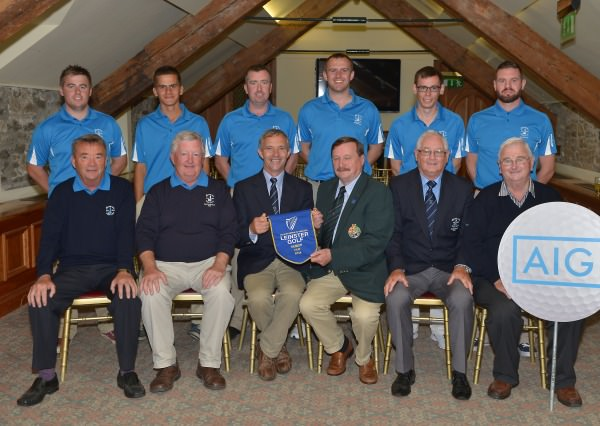 Kevin McIntyre (Chairman, Leinster Golf, GUI) presenting Paud O'Brien (Vice Captain, Rosslare Golf Club) with the 2014 AIG Leinster Senior Cup pennant after their victory at Mount Juliet Golf Club today (24/08/2014). Also in the front (from left) Dave Noonan (Assistant Team Manager), Liam McNamara (Team Manager), Dan Cash (President, Rosslare Golf Club) and Frank Codd (Hon Sercretary, Rosslare Golf Club). At back (from left) Gary Collins, Paul Murphy, Mark Mullen, Tony O'Leary, Ian Lynch and Philip Balfe. Picture by  Pat Cashman