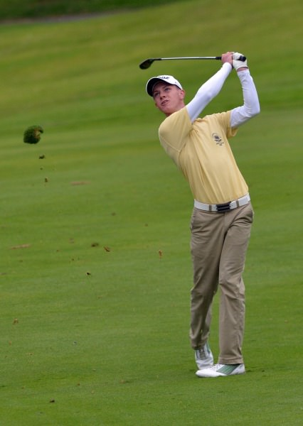 Rowan Lester (Hermitage) pitching to the 10th green in the 2014 AIG Leinster Senior Cup final at Mount Juliet Golf Club today (24/08/2014).  Picture by   Pat Cashman