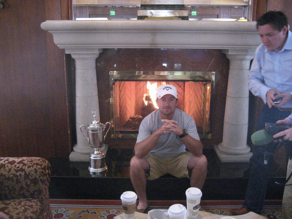 Graeme McDowell with manager Conor Ridge the morning after his US Open victory at Pebble Beach.