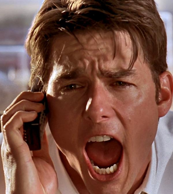 """Show me the money!"" Tom Cruise as agent Jerry Maguire"