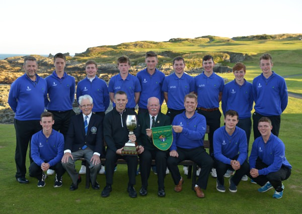 Liam Martin (President, Golfing Union of Ireland) pictured presenting Ger Nowlan (Captain, Carton House Golf Club) with the 2014 Fred Daly All Ireland trophy after their victory at Ardglass. Also in the picture in front (from left) Cian Hutchinson, Tony Mayes (Captain, Ardglass Golf Club), Brendan Boucher (Team Captain), Oisin Devereau and Marc Boucher. At back (from left) Paul Mullarkey (Team Manager), Enda Cahill, David Carey, Dean Cafferty, David Travers, Sean Walsh, Darragh Walsh, Bill Hannan and Mark Travers. Picture by Pat Cashman