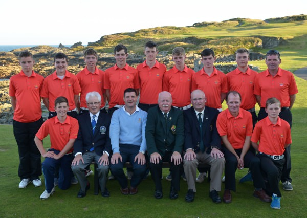 Liam Martin (President, Golfing Union of Ireland) pictured with the Galway Golf Club Fred Daly team beaten finalists in the 2014 Fred Daly Trophy. Picture by Pat Cashman
