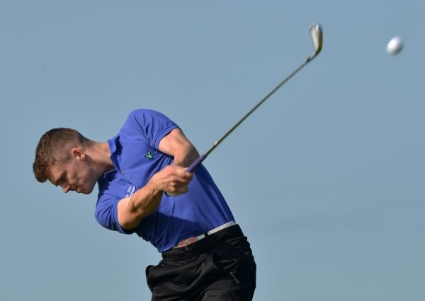 Marc Boucher (Carton House) driving at the 11th at Ardglass. Picture by Pat Cashman