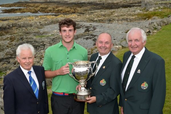 Michael Connaghton (President Elect, GUI) presenting Kyle McCarron (North West) with the 2014 Irish Youths Amateur Close Championship trophy at Ardglass GC (29/08/2014). Also pictured are Tony Maynes (Captain, Ardglass GC) and Peter Sinclair (Chairman, Ulster Branch, GUI).  Picture by   Pat Cashman