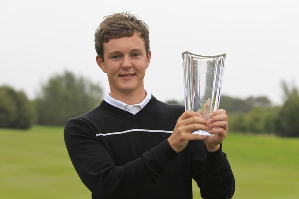 Whitehead's John-Ross Galbraith with the leading amateur award at Galgorm Castle. Picture: Thos Caffrey / www.golffile.ie