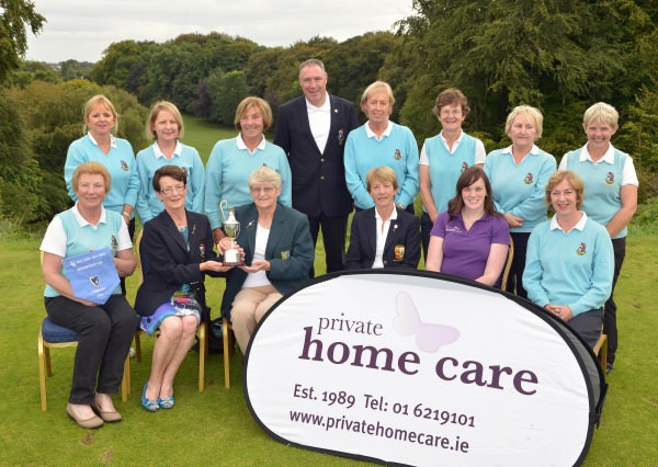 Mary Kennedy (Chairman, Connacht District, ILGU) presenting Monica Tynan (Lady Captain, Co Longford Golf Club) with the 2014 Private Home Care Connacht District Ladies Intermediate Cup after their victory at Athlone Golf Club today (30/08/2014). Also in the picture in front (from left) Margaret Dooley (Team Captain), Lily O'Sullivan (Lady Captain, Athlone Golf Club), Anna Llyod (Private Home Care) and Roisin O'Doherty (Team Manager). At back (from left) Mellory Tighe, Tracy Farrell, Mary Keegan, Aidan Glacken (Captain, Co Longford Golf Club), Rita H Farrell, Pat McHugh, Ann Jenkins and Breedge Shanley. Picture by Pat Cashman