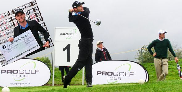 Richie O'Donovan shows off his swing and his cheque for €5,000. Picture via www.pga.de