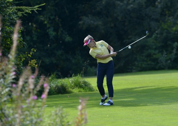 Ann Ring (Castlecomer) driving at the 14th hole during the semi final of the I Need Spain Irish Mixed Foursomes at Warrenpoint Golf Club (04/09/2014). Picture by Pat Cashman