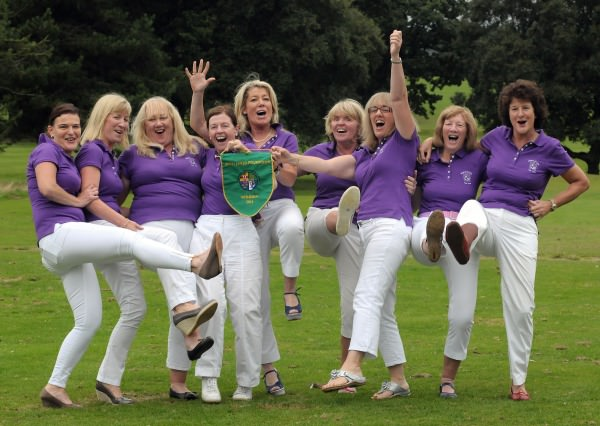 Waterford Castle lady team members Sally Brennan, Fiona Fitzgerald, Mary Madigan, Bridget Tierney, Patsy Garry, Anna Galvin, Deirdre McCarthy and Phyllis Sinnott with the I Need Spain Irish Mixed Foursomes trophy after their victory at Warrenpoint Golf Club. Picture by Pat Cashman