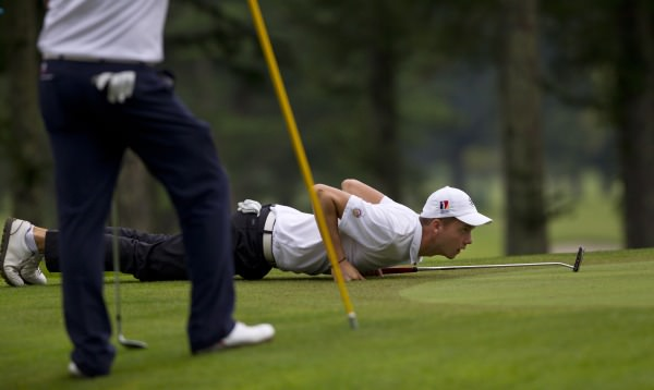 Maximilian Mehles of Germany goes low to scout his putt at the 18th green, (Iriyama Course), during the second round at the 2014 Eisenhower Trophy at Karuizawa 72 Golf East in Karuizawa, Japan on Thursday, Sept. 11, 2014.  © USGA/Steven Gibbons