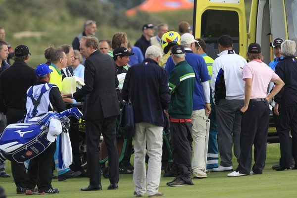 Paraguay's Fabrizio Zanotti is taken to hospital after being struck in the head. Picture: Thos Caffrey / www.golffile.ie