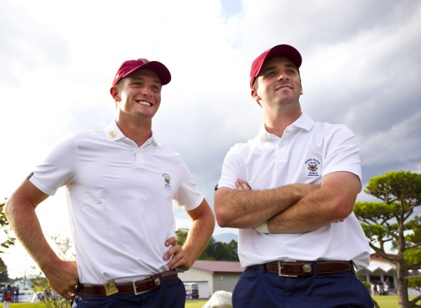 Teammates Bryson DeChambeau (left), and Denny McCarthy of United States of America, at the 18th green, (Oshitate Course), during the third round at the 2014 Eisenhower Trophy at Karuizawa 72 Golf East in Karuizawa, Japan on Friday, Sept. 12, 2014. ©  USGA/Steven Gibbons