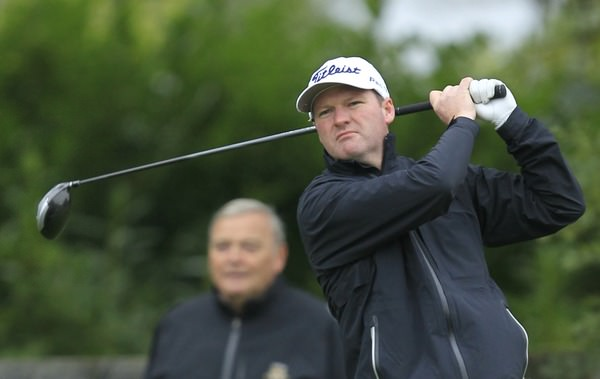 John Dwyer (Ashbourne G.C) on the 1st tee during the 103rd Irish PGA Championship last year.  Picture: Thos Caffrey /  www.golffile.ie