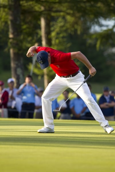 Bryson DeChambeau of United States of America reacts after sinking his birdie putt at the 18th green, (Iriyama Course), during the final round at the 2014 Eisenhower Trophy at Karuizawa 72 Golf East in Karuizawa, Japan on Saturday, Sept. 13, 2014. © USGA/Steven Gibbons