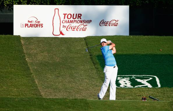 Rory McIlroy is tied for the lead at East Lake in Atlanta with a round to go.  Picture via Twitter.com/PGATOUR