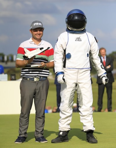 Andy Sullivan celebrates winning a trip into space. Picture: Thos Caffrey /  www.golffile.ie
