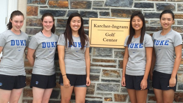 Lisa and Leona Maguire (left) with their Duke University team mates. Courtesy: Duke Photography