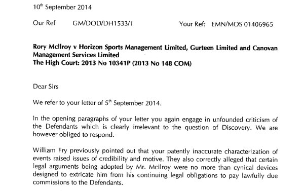 Click to read Horizon's letter to McIlroy's lawyers.
