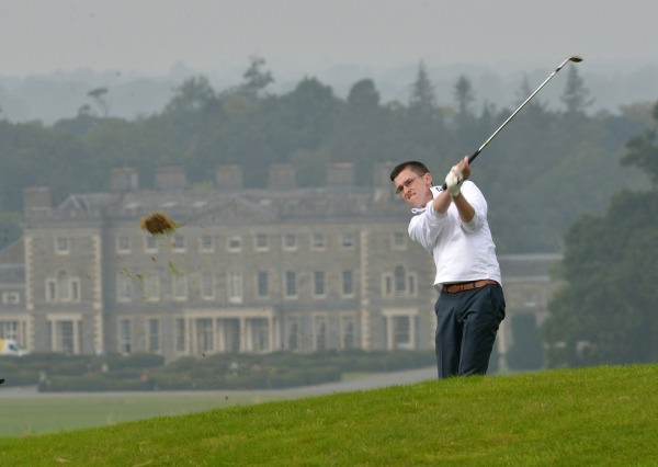 Keith Bermingham (Catletroy) playing his second shot to the 12th in the final of the AIG Junior Cup at Carton House today (18/09/2014). Picture by  Pat Cashman