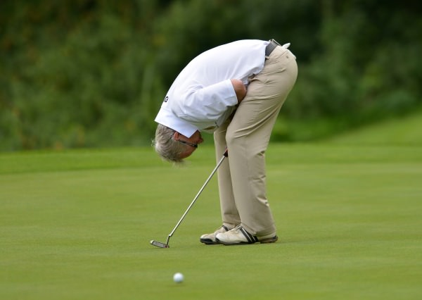 Harry Gleeson (Castle) reacts to a missed putt on the 16th green in the final of the AIG Junior Cup at Carton House today (18/09/2014). Picture by Pat Cashman