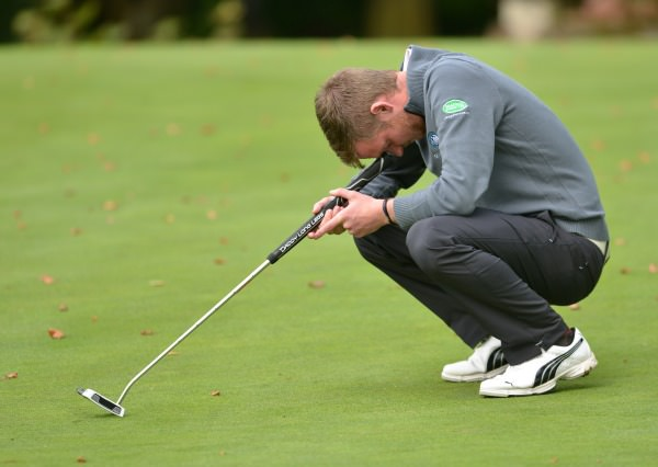 Stephen Coulter (Warrenpoint) reacts to a missed putt on the 16th green in the final of the AIG Barton Shield at Carton House today (18/09/2014). Picture by  Pat Cashman