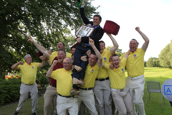 Spanish Point celebrating their AIG Pierce Purcell win in 2013. Can they do it again? Picture: Thos Caffrey /  www.golffile.ie