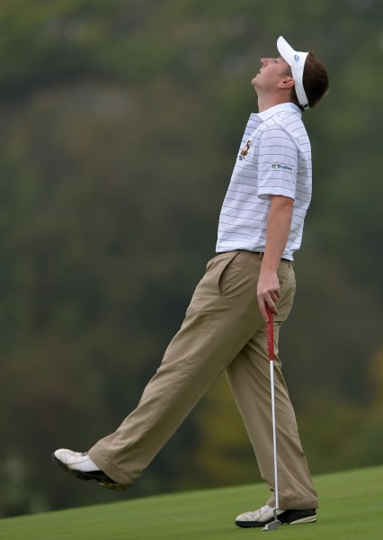David Kiely (Tramore) reacts to a missed putt at the 18th green in the  semi final of the AIG Senior Cup at Carton House today (19/09/2014).  Picture by   Pat Cashman